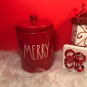 RAE DUNN RED SMALL CANISTER MERRY